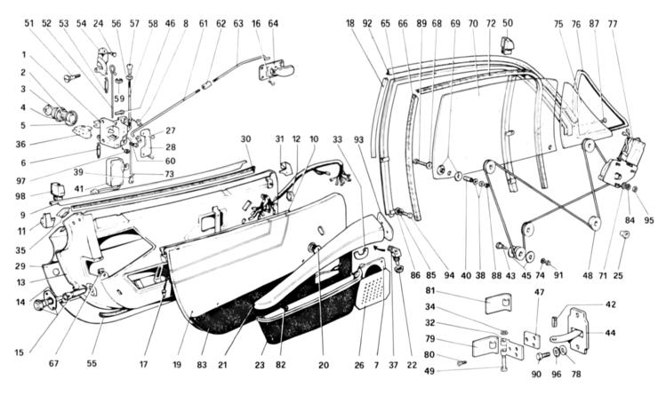 Ferrari 308 Door Rod # 40132706