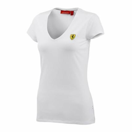 Ferrari Red Ladies V-Neck Tee Shirt